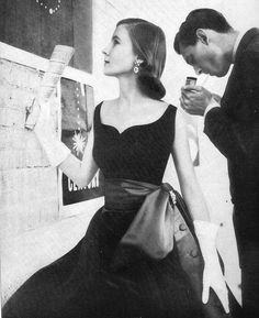 Velvet and satin party dress, 1951