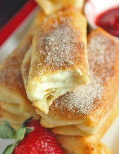 Fried Cheesecake Roll-Ups Recipe - RecipeChart.com