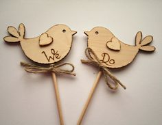 Love the burnt wood idea..  We Do Rustic Wedding Cake Topper Bird Cake Topper by Melysweddings, £8.50