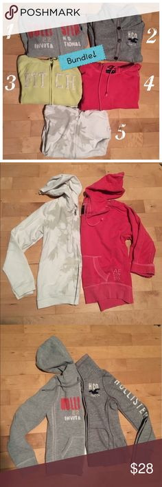 5 for 28$ Sweat Shirt Bundle 1) Gray Hollister zip-up hoodie with pink and white stitched writing and pockets. Size S 2) Gray Hollister button up hoodie with white and navy writing, collar, and pockets. Size S/M 3) Light yellow Abercrombie and Fitch zip-up hoodie with pockets size S 4) Choral AEO pullover with hood and pockets size S  5) White AEO zip-up hoodie with tan design and pockets size S Trades and reasonable offers are welcome ☺ All in used/good condition, no rips, pilling, or…
