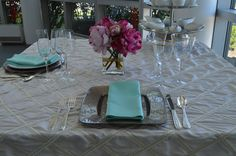 Glass Taupe Square and Round Plate Liner, Regency Silver Flatware, Bell Gold Rim Glassware, Tiffany Blue Satin Napkin & Oyster Pearl Table Linen | Chair-man Mills.