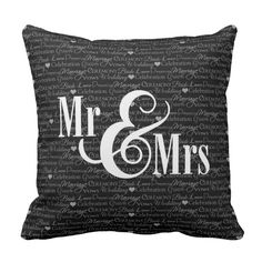 """Wedding Words BandW """"Mr and Mrs"""" pillow, personalized"""