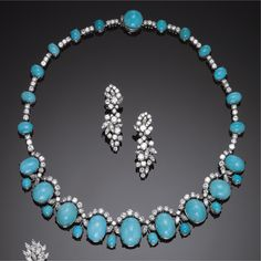 GOLD, TURQUOISE AND DIAMOND NECKLACE