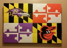 "Baltimore Ravens & Orioles Maryland Flag sign - Hand Painted wood sign 21"" x 14"" by CraftsbyMichelleMD on Etsy"