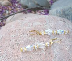 Iridescent Clear Crystal Glass Earrings With Gold Plated Lever Hooks Prom Earrings, Prom Jewelry, Glass Earrings, Bridal Earrings, Crystal Earrings, Crystal Beads, Bridal Jewelry, Glass Beads, Crystals