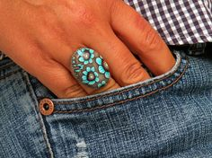 Adjustable Antique Finish Metal Oval Ring with Turquoise Blue, Brown Petite Flowers..