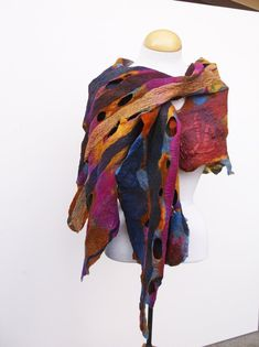 Gift fot Her; Nuno Felt Scarf, Felted Scarf, Felting Tutorials, Silk Shawl, Nuno Felting, Shades Of Purple, Silk Chiffon, Textile Art, Wearable Art