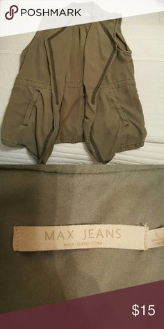 Max Jeans Olive Green Vest Max Jeans Olive Green Vest! Size Large! Worn once! No wear or tear! Loose fitting, great cut! Has optional tie waist if you are looking for an hourglass fit! Max Jeans Jackets & Coats Vests