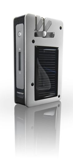 Powertrip-holds charge for up to 5 iPhones and can charge by wall outlet, USB, or solar. Would be great for traveling!