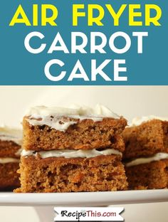 How to make a delicious carrot cake in the air fryer. Including how to convert your carrot cake for the air fryer oven, how to make carrot cake crumb bars and how to use the air fryer to make a carrot cake traybake. Carrot Cake Traybake, Fried Carrot Cake, Air Fryer Recipes Dessert, Air Fryer Oven Recipes, Carrot Recipes, Cake Recipes, Carrots N Cake, Air Fryer Fish, Air Fried Food