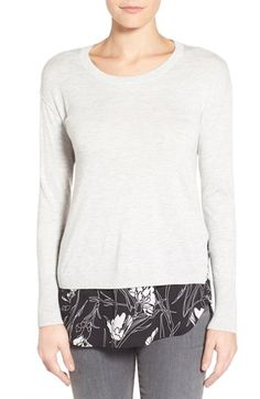 Halogen® Woven Hem Layered Look Sweater (Regular & Petite) available at #Nordstrom