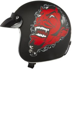 """LUCKY 13 GREASE GLORY HELMET Price: $114.00 Hit the highways with Lucky 13! This matte black motorcycle helmet features the Lucky 13 devil design on each side, stripe down the center, """"Lucky 13"""" log on back & removable visor. DOT approved!"""