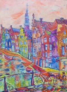 Amsterdam canal - huile sur toile - Elena Polyakova (1970- )
