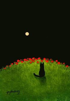 Poppy Hill by Todd Young, cat on poppy covered hill gazing at moon