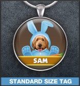 Show off your furry friend's unique personality with a hand-crafted photo character tag! www.awpaws.com
