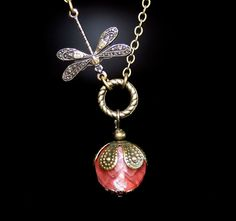 Dragonfly Necklace with Pink Stone by smilesophie on Etsy, $17.00
