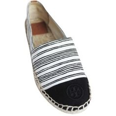 Pre-owned Tory Burch Ivory Black Nwb Stripe Canvas Espadrille Flats