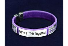 We're In This Together Purple Ribbon Fabric Bangle Bracelet - (B-22-4WT)