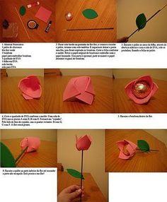Rosas goma eva con bombon