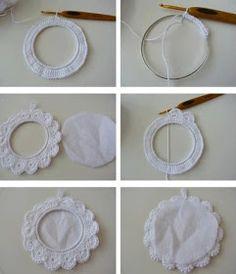 aprovechar el tejido al crochet para realizar cuadros o porta fotos para la decoracin shabby chicstyle