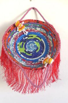 Handmade Coiled Cotton Fabrics  Multi Color Bread Basket Rope Quilted Decor Art   Home & Garden, Home Décor, Baskets   eBay!