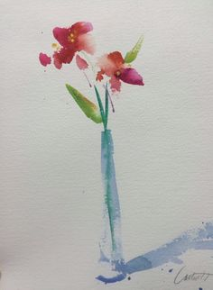 Bildergebnis für Easy Watercolor Paintings of Flowers Watercolor Pictures, Watercolor Drawing, Watercolor Pencils, Watercolor Cards, Watercolor And Ink, Painting & Drawing, Watercolors, Simple Watercolor Flowers, Painting Flowers