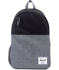 Hit the road in two tone style with a grey crosshatch and black color blocked design plus a mesh water bottle on the side and a padded laptop sleeve inside.