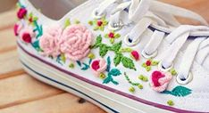 Floral Sneakers, Floral Shoes, Shoes Sneakers, Sneakers Fashion, Gift For Lover, Lovers Gift, Embroidery Sneakers, Sharpie Shoes, Hand Embroidery Art
