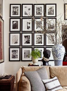 "Interior Glam: NYC - Inside a Fashion Designer's Collected Bastion of Beauty ""It's not theme-y,"" says menswear designer Michael Bastian of the New York City apartment he's call Michael Bastian, Tapetes Vintage, Gallery Wall Frame Set, New York City Apartment, Poster Design, West Village, Love Home, Black And White Pictures, Picture Wall"