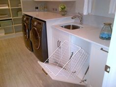 For laundry chute storage - tilt-out!