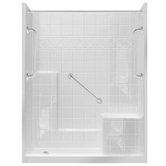 Sterling Advantage White Vikrell Wall And Floor 4 Piece Alcove Shower Kit  (Common: 34 In X 60 In; Actual: 77.25 In X 34