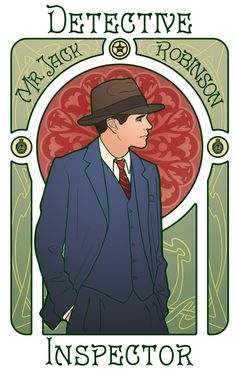 Second in the series, here is the Detective Inspector Jack Robinson. You can find Miss Phryne Fisher here. No Mucha-esque frills on this one, on account of Jack having no hair or fur shawls with which to make swirly shapes. Silly Jack. The patterns...