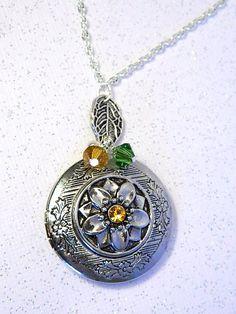 Sunflower Necklace Sun Flower Locket Necklace by FireFlyEngraving