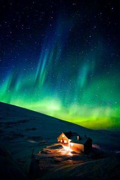 The aurora borealis, northern Sweden.