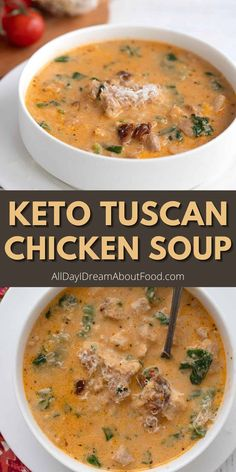 Creamy Tuscan Chicken Soup is rich and satisfying, and packed full of wholesome ingredients. It's a keto comfort food meal the whole family will enjoy. Only 4.9g net carbs per serving! Low Carb Soup Recipes, Diet Recipes, Chicken Recipes, Cooking Recipes, Healthy Recipes, Soup And Sandwich, Low Carb Keto, Soup And Salad, Food For Thought