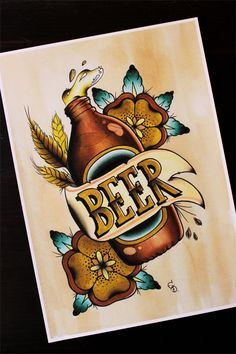 """VB Beer 11""""x14"""" Traditional Tattoo Flash Print (Other sizes available) by Yukittenme on Etsy https://www.etsy.com/listing/153513055/vb-beer-11x14-traditional-tattoo-flash"""