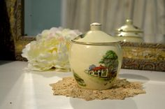 ROYAL WINTON, CHELSEA, England, Sugar Pot with Lid - Red Roof Cottage Inn Sugar Pot, Shady Tree, Red Roof, Classic Architecture, Vintage China, Cottages, Chelsea, England, Classical Architecture