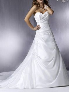 A-line Sweetheart Beading Embroidery Taffeta Court Train Wedding Dress at Millybridal.com