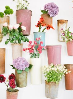 buckets of flowers... concept by hatch creative studio  photo by jen huang