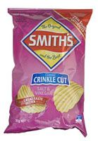 Smith's Salt and Vinegar Crinkle Cut 90g.   Get em while you can... These never last long.   Please note Due to the short expiration on chips you may recieve them past date. We have continued to import this snack line due to the requests from our customers. Enjoy.