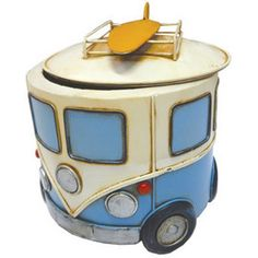 {REC.sp_name images} Kombi Storage tin w Surf Boards Blue 18cm Cookie Jar style metal storage in the form of a VW Kombi from  Coastal designs Volkswagen Memorabilia section