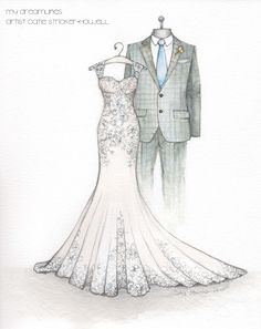 Loved sketching this mermaid style wedding gown! A wedding dress illustration is a great gift for your anniversary or wedding day. Wedding Dress Drawings, Wedding Dress Illustrations, Wedding Illustration, Fashion Illustration Sketches, Fashion Design Portfolio, Fashion Design Sketches, Wedding Painting, Fashion Art, Fashion Outfits