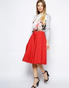 Image 1 ofASOS Full Midi Skirt In Scuba With Pockets