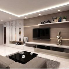 Best modern tv unit design for living room modern tv units for memorable Ceiling Design Living Room, Living Room Tv, Living Room Interior, Interior Design Kitchen, Interior Modern, Classic Interior, Modern Interiors, Design Interiors, Cozy Living