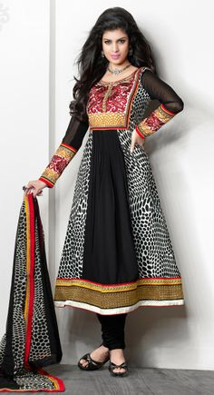 Gallant Black Crepe Silk Anarkali #Salwar Suit