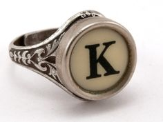 two loves together - antique typewriter letters and the initial K (OK actually three loves together - it's a ring)