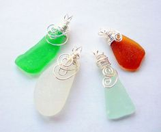 Wire wrapped seaglass shards