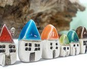 Rustic set of 5 tiny houses - miniature ceramic houses Home decoration Collection  Little houses Elitett tbteam