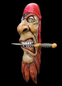 OOAK, Wood Spirit Carving, Pirate, Buccaneer, Nautical Art, Decor face By Damian