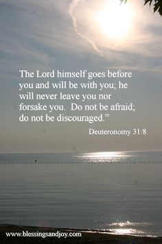 The Lord himself goes before you and will be with you; He will never leave you nor forsake you. Do not be afraid, do not be discouraged. ~Deuteronomy 31:8